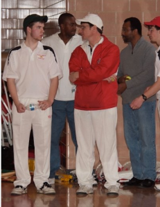 (From left to right: Justin Bruchey (manager), Gregory Alleyne, Jamie Harrison, Keith Gill, John Boland